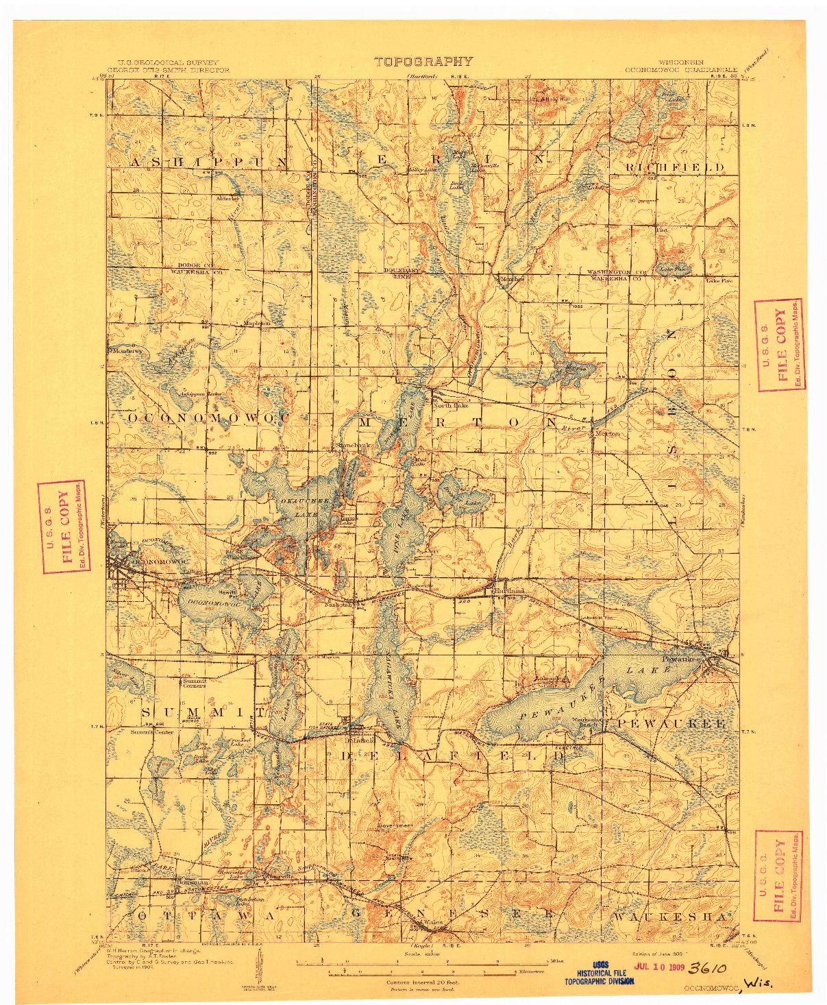 USGS 1:62500-SCALE QUADRANGLE FOR OCONOMOWOC, WI 1909
