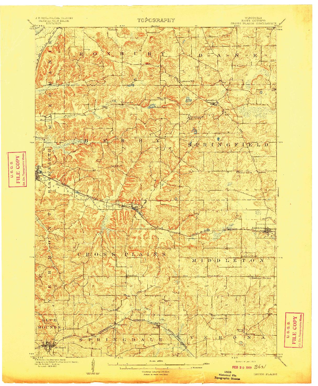 USGS 1:62500-SCALE QUADRANGLE FOR CROSS PLAINS, WI 1909