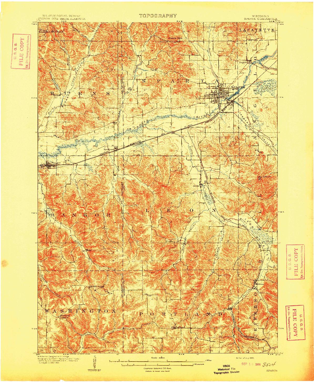 USGS 1:62500-SCALE QUADRANGLE FOR SPARTA, WI 1909