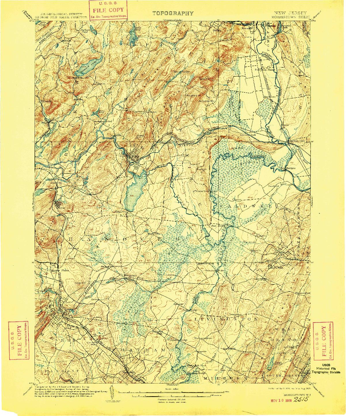 USGS 1:62500-SCALE QUADRANGLE FOR MORRISTOWN, NJ 1906