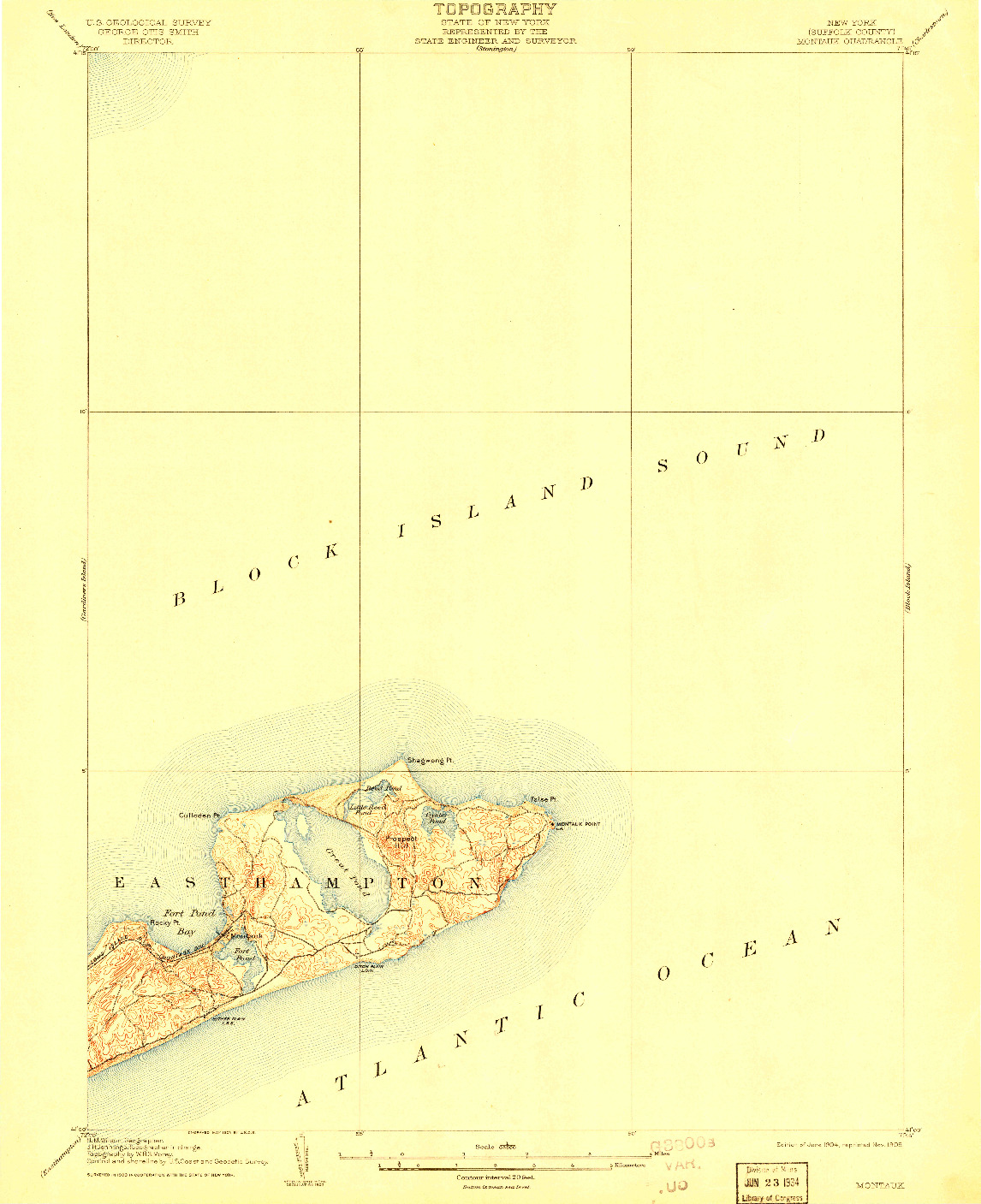 USGS 1:62500-SCALE QUADRANGLE FOR MONTAUK, NY 1904