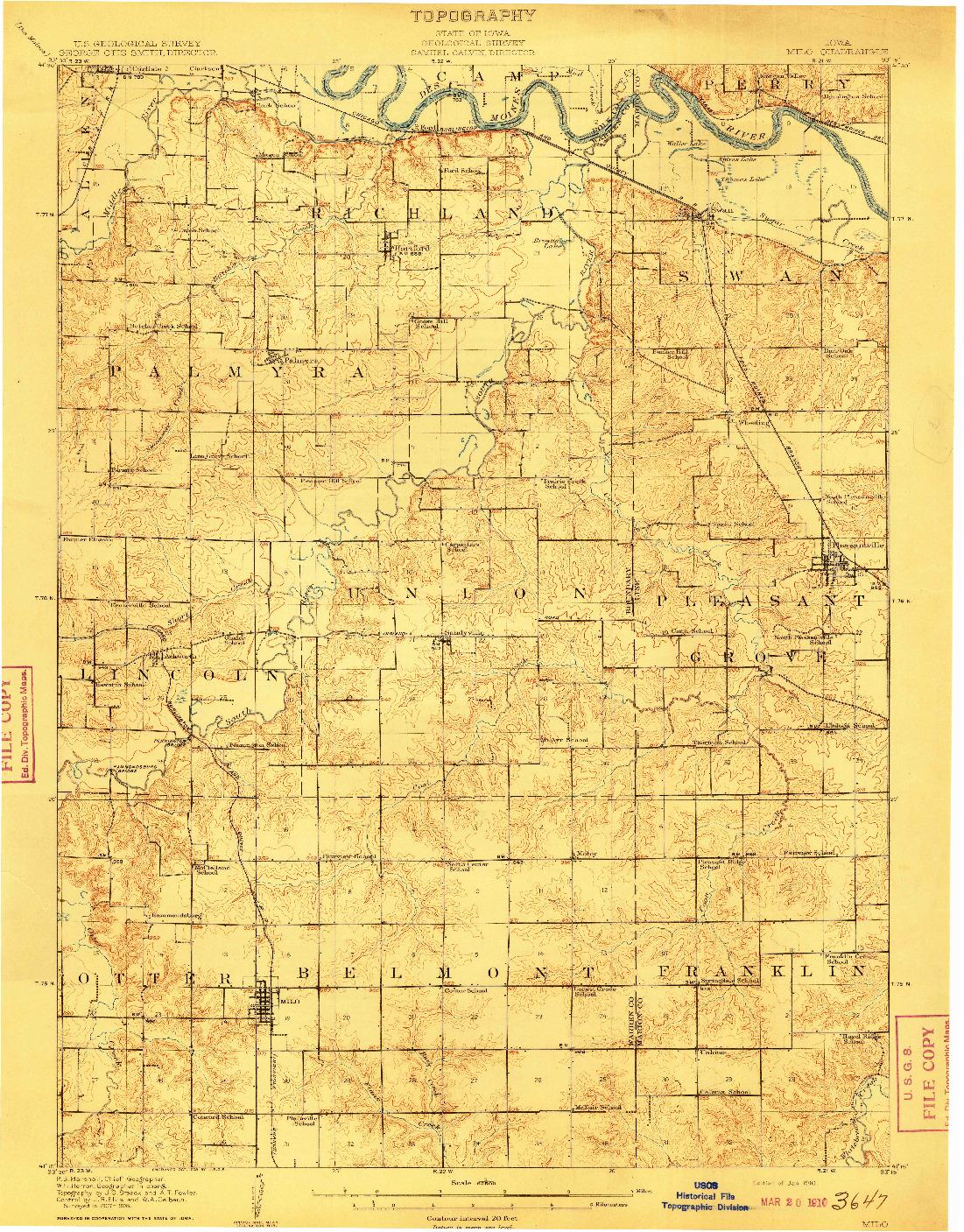 USGS 1:62500-SCALE QUADRANGLE FOR MILO, IA 1910