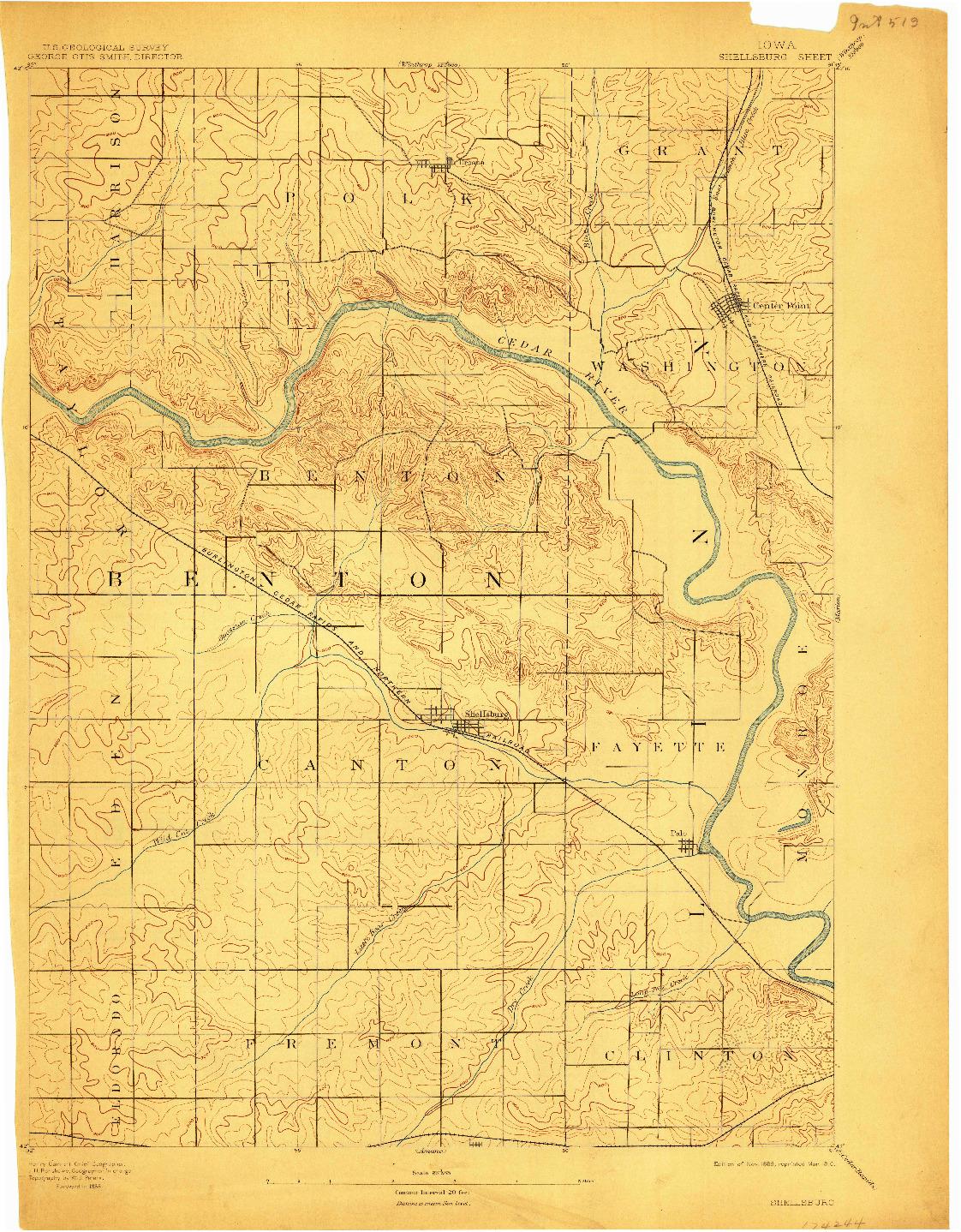 USGS 1:62500-SCALE QUADRANGLE FOR SHELLSBURG, IA 1899