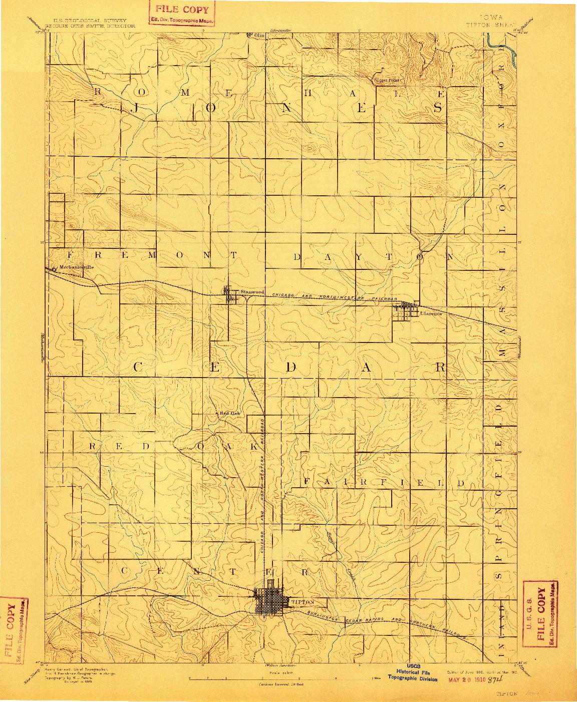 USGS 1:62500-SCALE QUADRANGLE FOR TIPTON, IA 1890