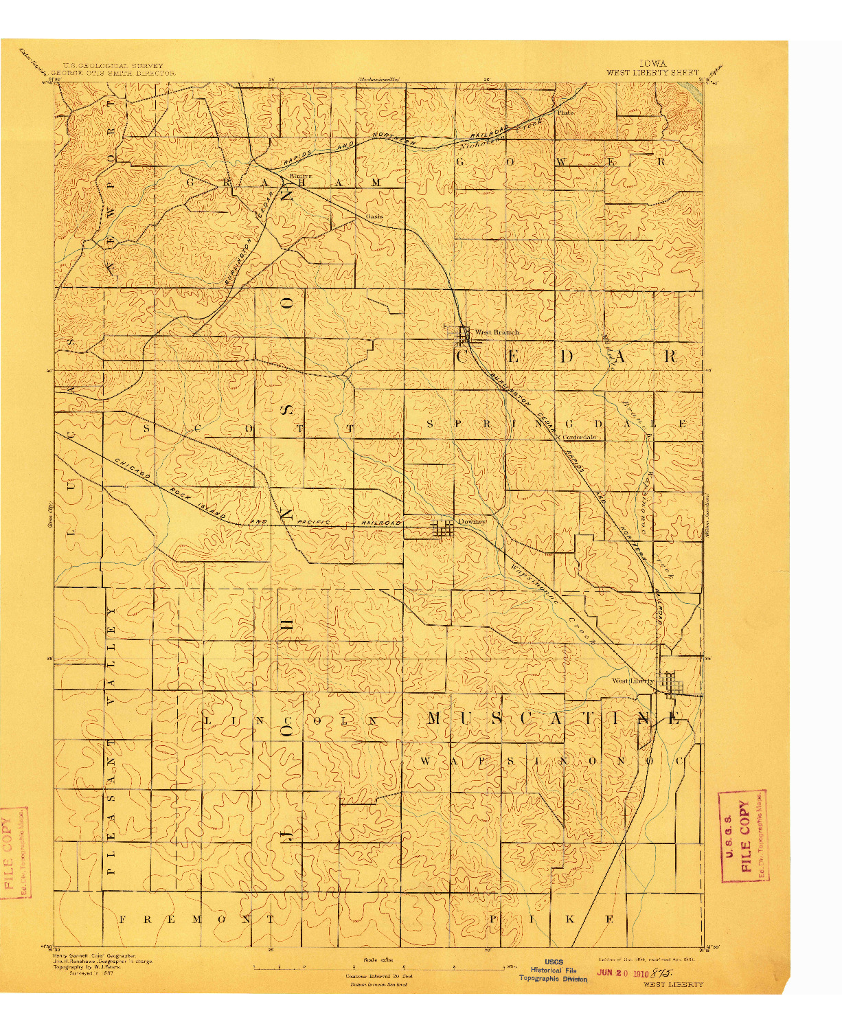 USGS 1:62500-SCALE QUADRANGLE FOR WEST LIBERTY, IA 1894
