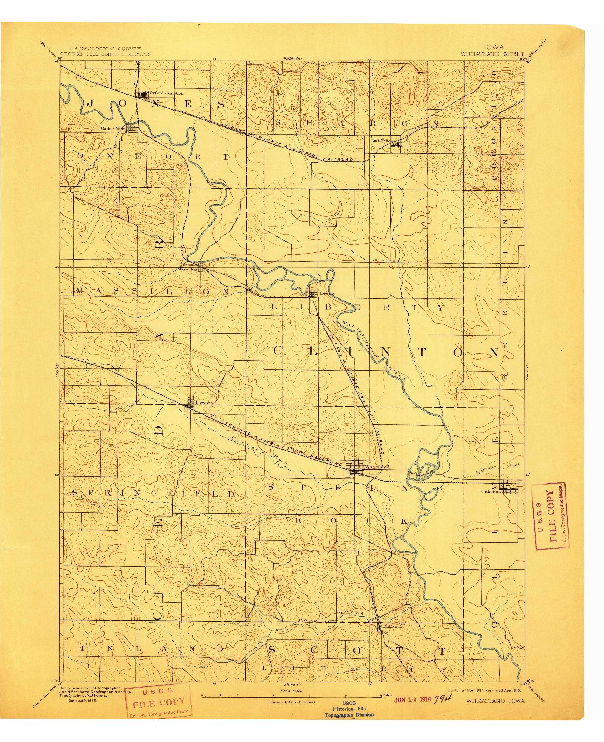 USGS 1:62500-SCALE QUADRANGLE FOR WHEATLAND, IA 1894