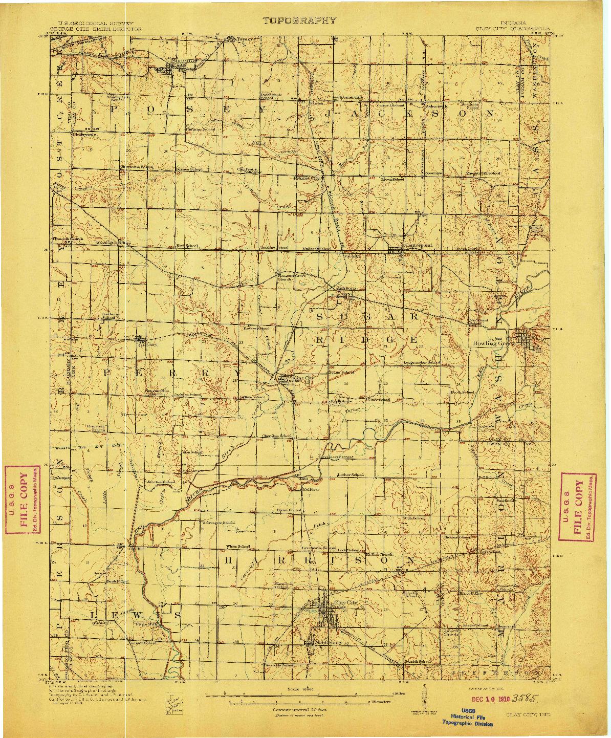 USGS 1:62500-SCALE QUADRANGLE FOR CLAY CITY, IN 1910