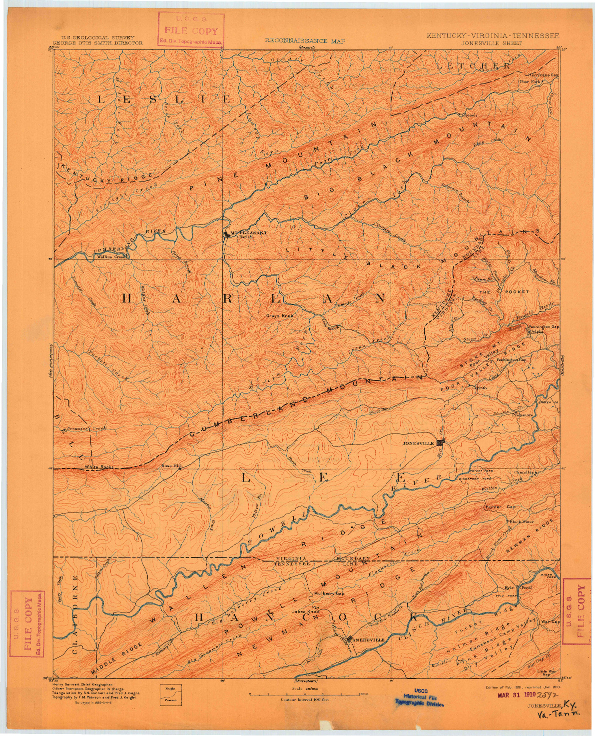 USGS 1:125000-SCALE QUADRANGLE FOR JONESVILLE, KY 1891