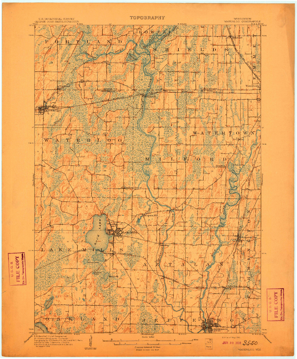 USGS 1:62500-SCALE QUADRANGLE FOR WATERLOO, WI 1910