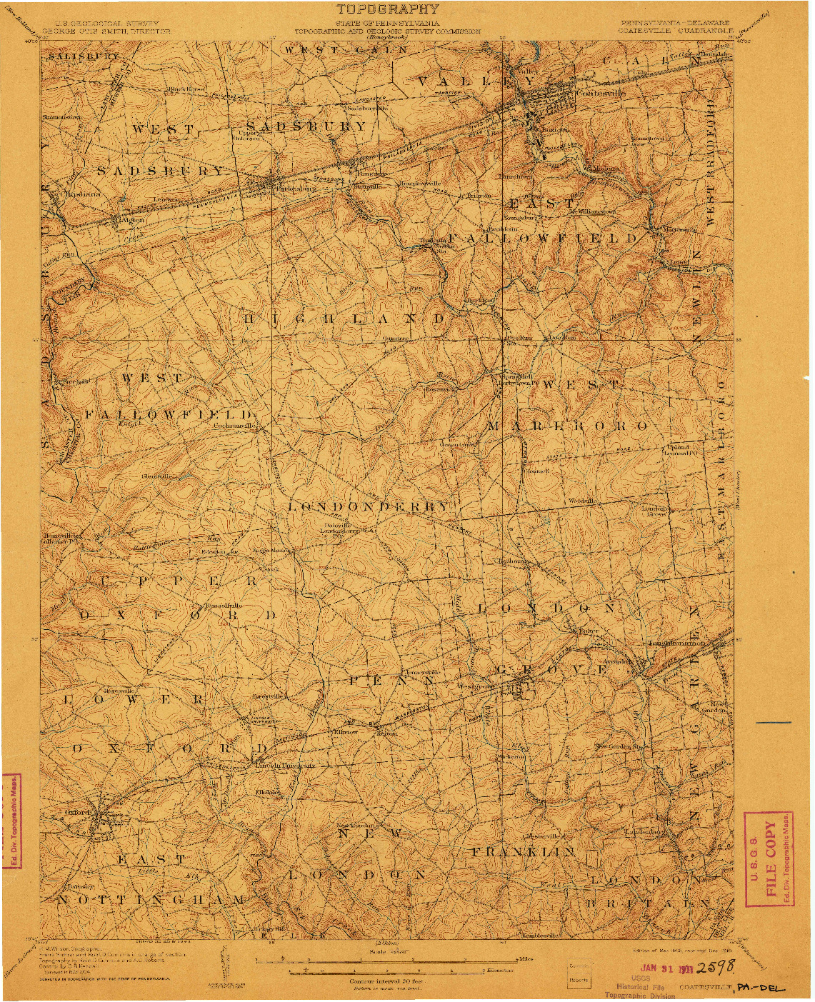 USGS 1:62500-SCALE QUADRANGLE FOR COATESVILLE, PA 1906