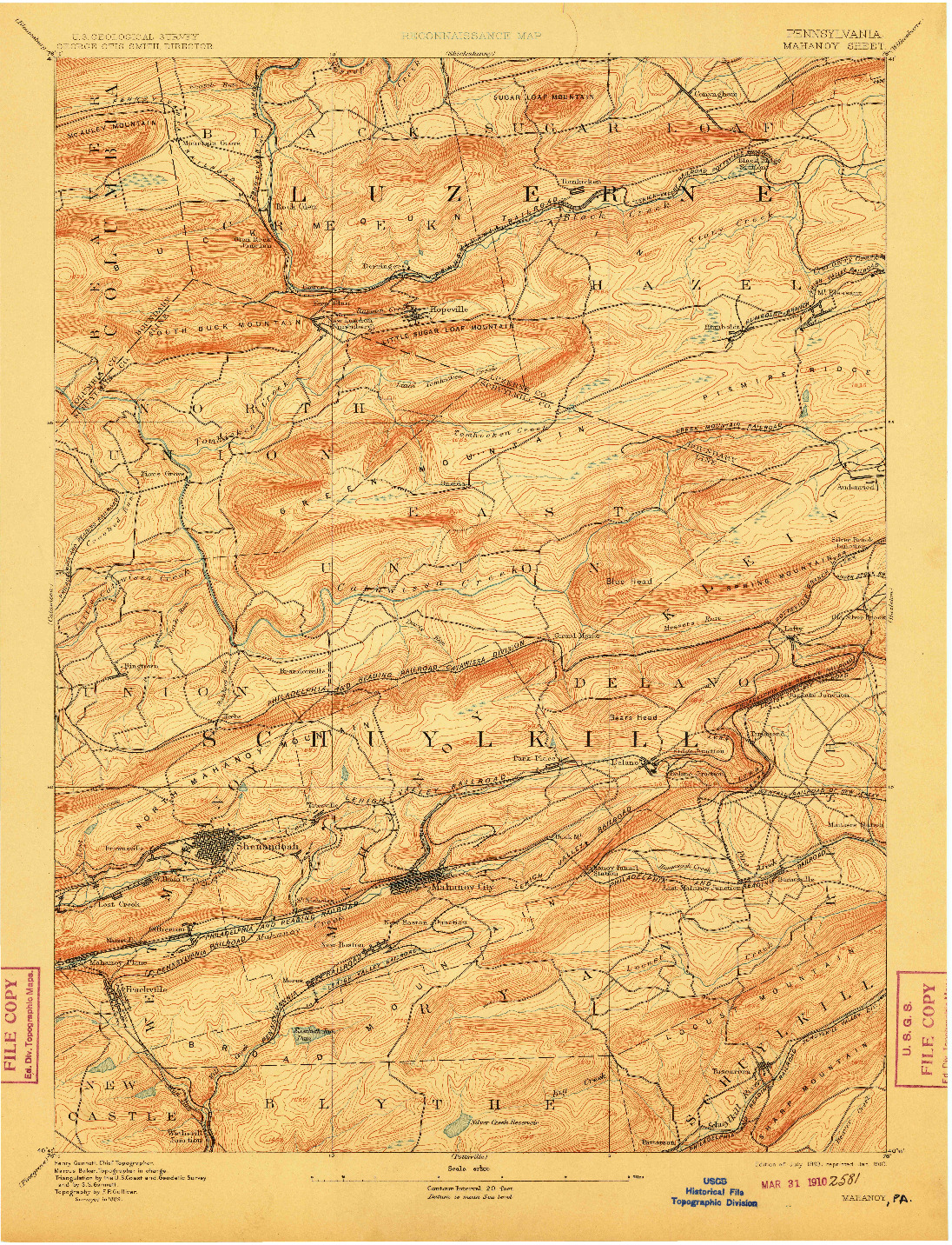 USGS 1:62500-SCALE QUADRANGLE FOR MAHANOY, PA 1893