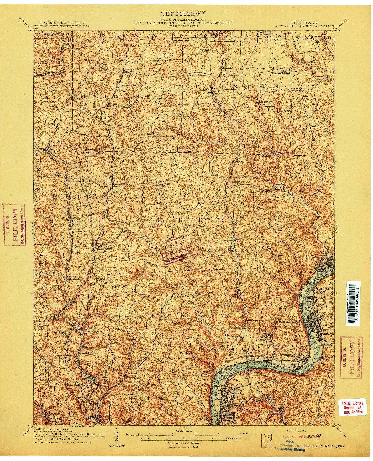 USGS 1:62500-SCALE QUADRANGLE FOR NEW KENSINGTON, PA 1910
