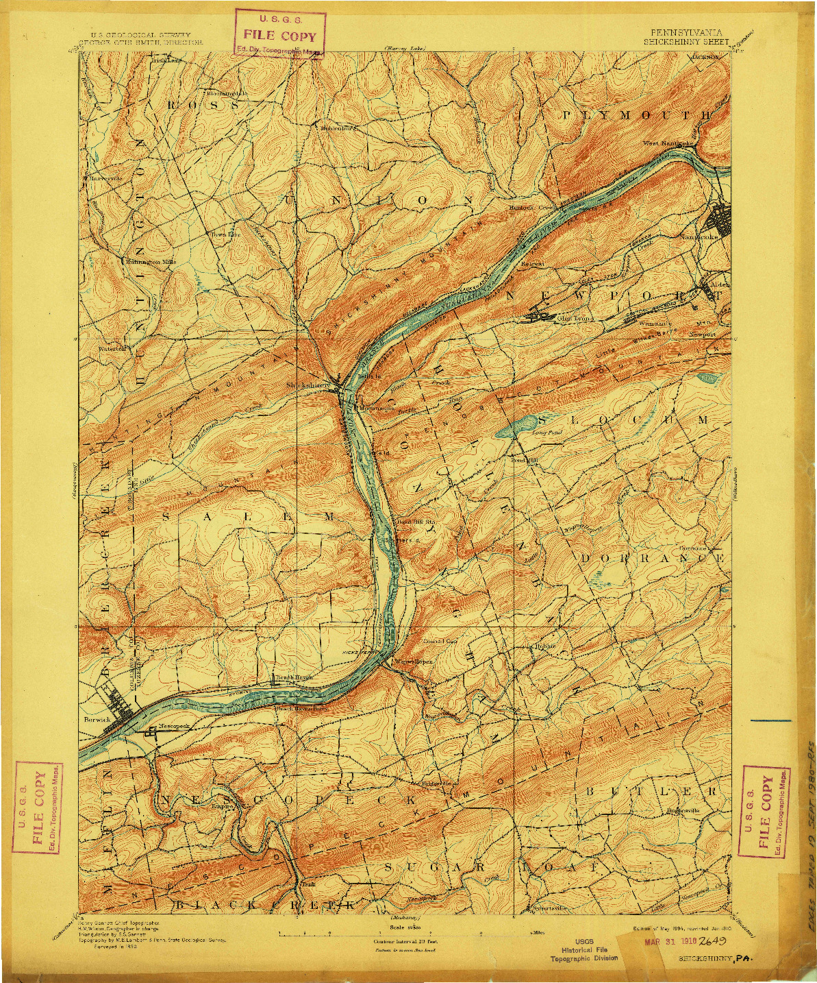 USGS 1:62500-SCALE QUADRANGLE FOR SHICKSHINNY, PA 1894