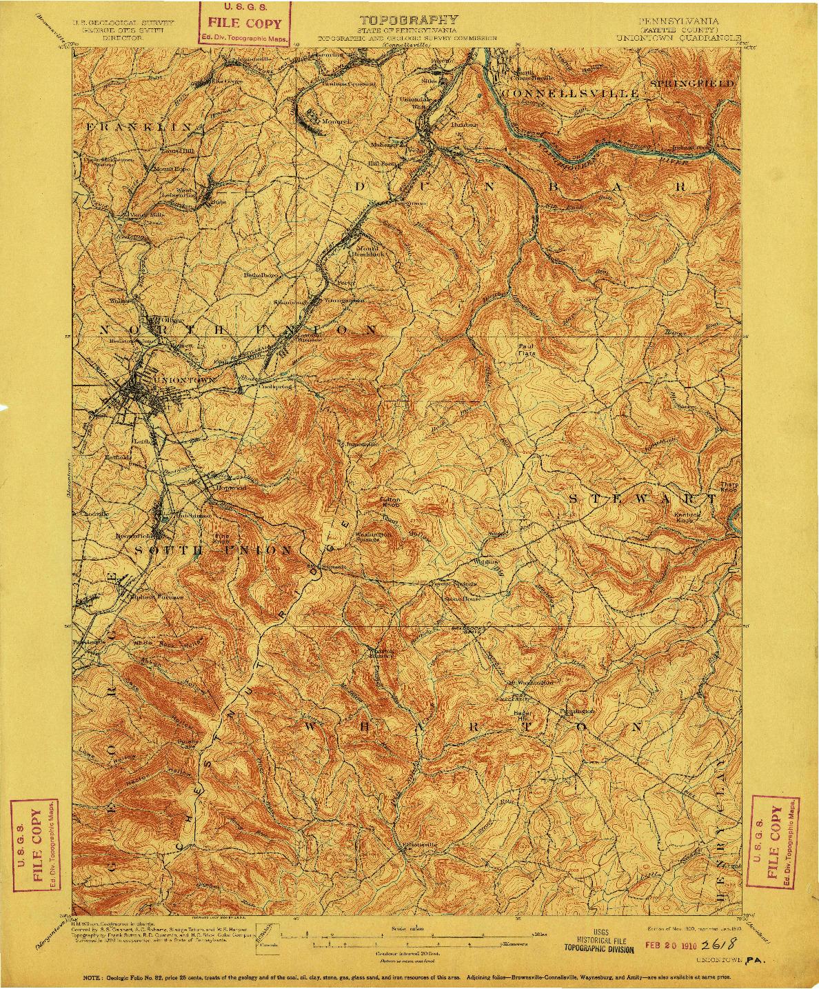 USGS 1:62500-SCALE QUADRANGLE FOR UNIONTOWN, PA 1900