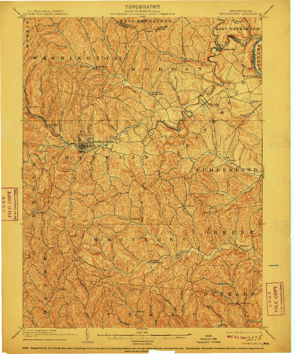USGS 1:62500-SCALE QUADRANGLE FOR WAYNESBURG, PA 1904