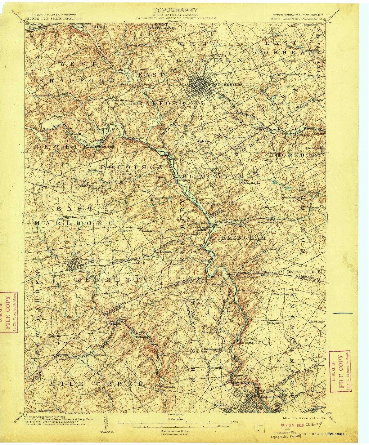 USGS 1:62500-SCALE QUADRANGLE FOR WEST CHESTER, PA 1904