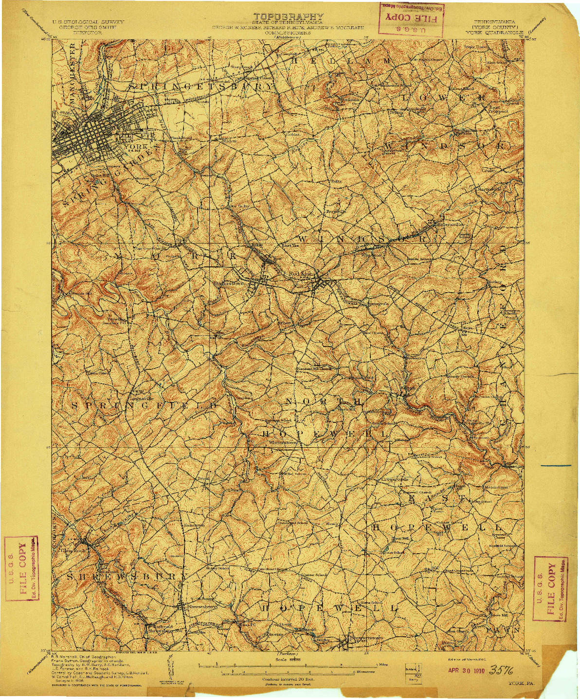 USGS 1:62500-SCALE QUADRANGLE FOR YORK, PA 1910