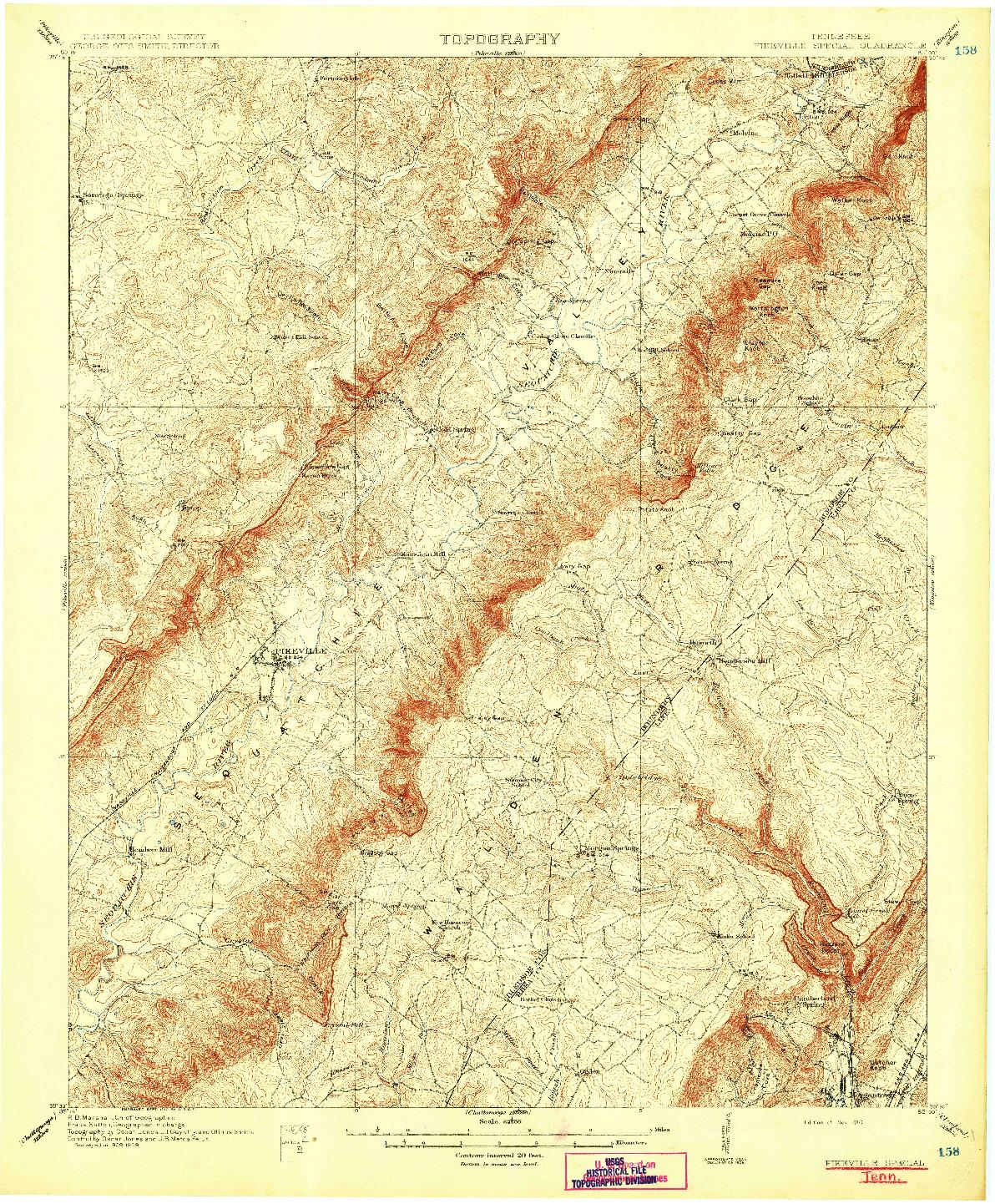 USGS 1:62500-SCALE QUADRANGLE FOR PIKEVILLE, TN 1910