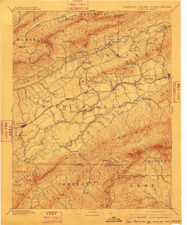USGS 1:125000-SCALE QUADRANGLE FOR ABINGDON, TN 1894