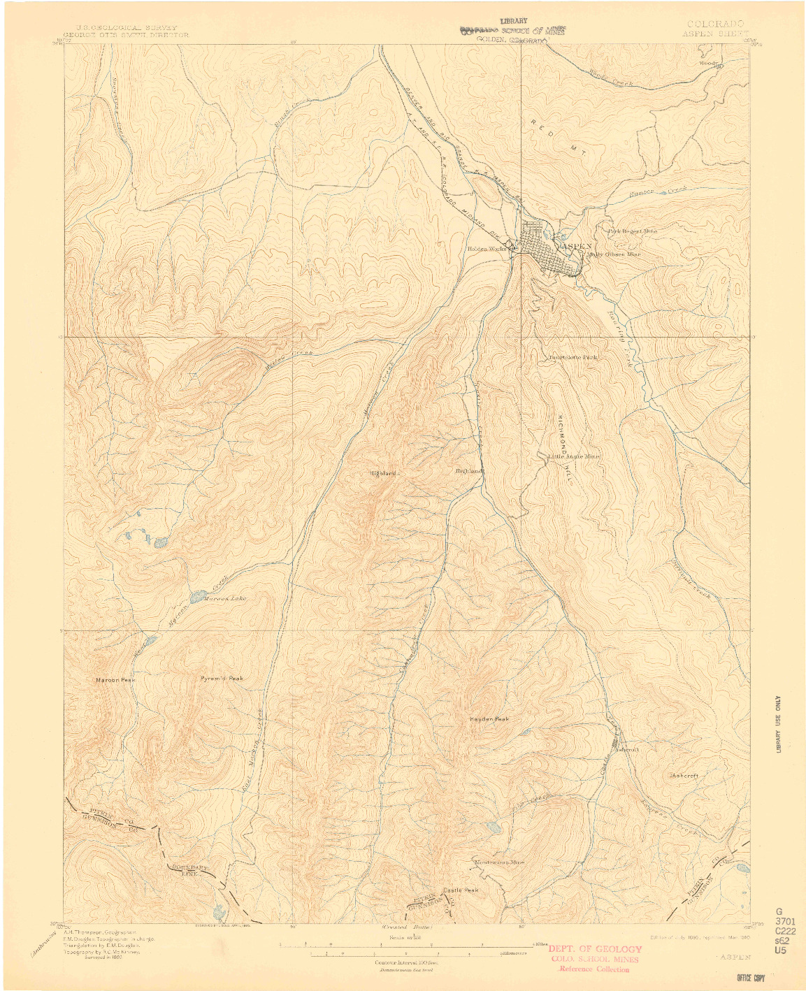 USGS 1:62500-SCALE QUADRANGLE FOR ASPEN, CO 1895