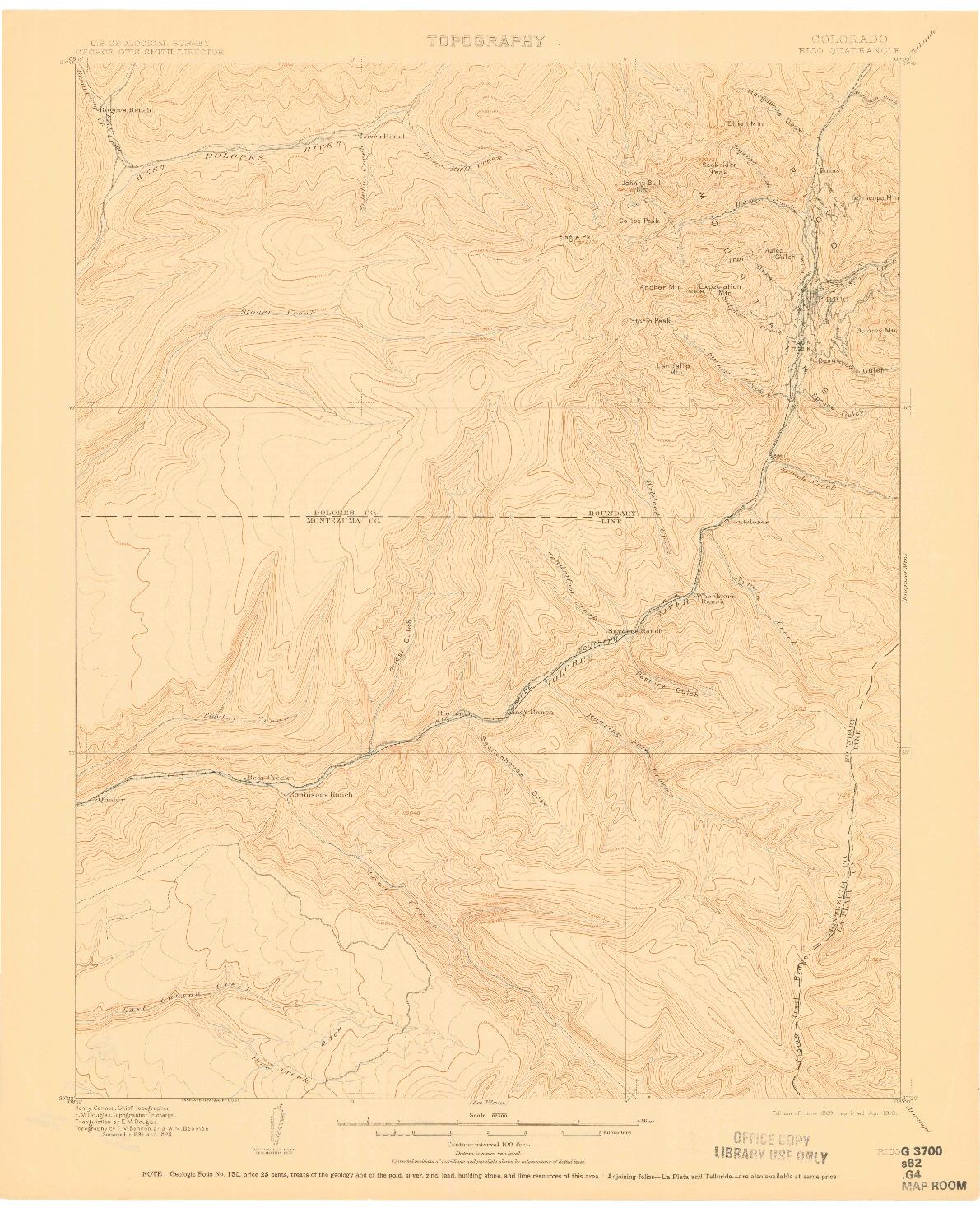 USGS 1:62500-SCALE QUADRANGLE FOR RICO, CO 1899