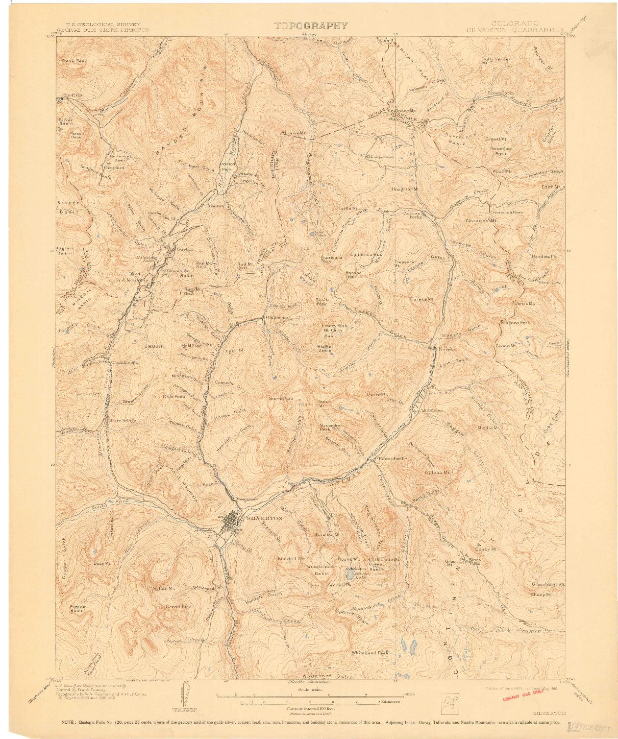 USGS 1:62500-SCALE QUADRANGLE FOR SILVERTON, CO 1902