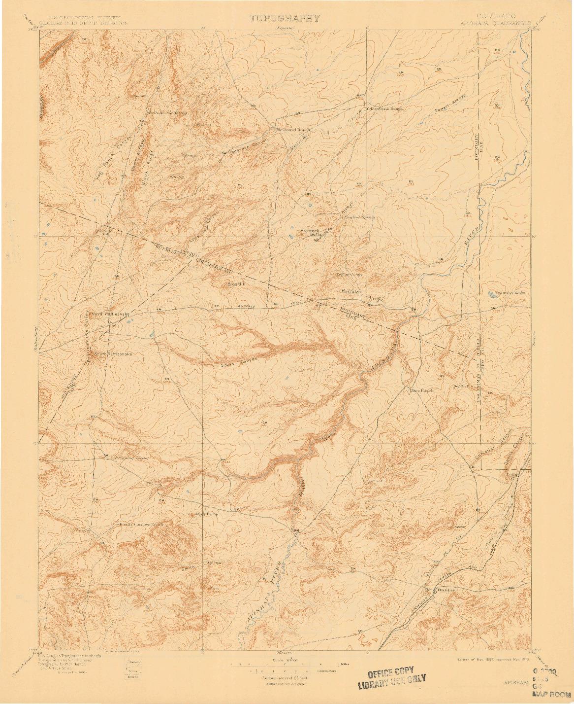 USGS 1:125000-SCALE QUADRANGLE FOR APISHAPA, CO 1897