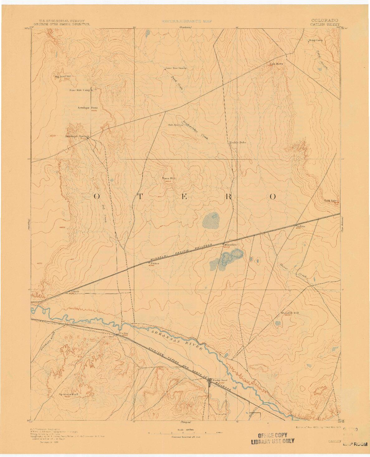 USGS 1:125000-SCALE QUADRANGLE FOR CATLIN, CO 1893