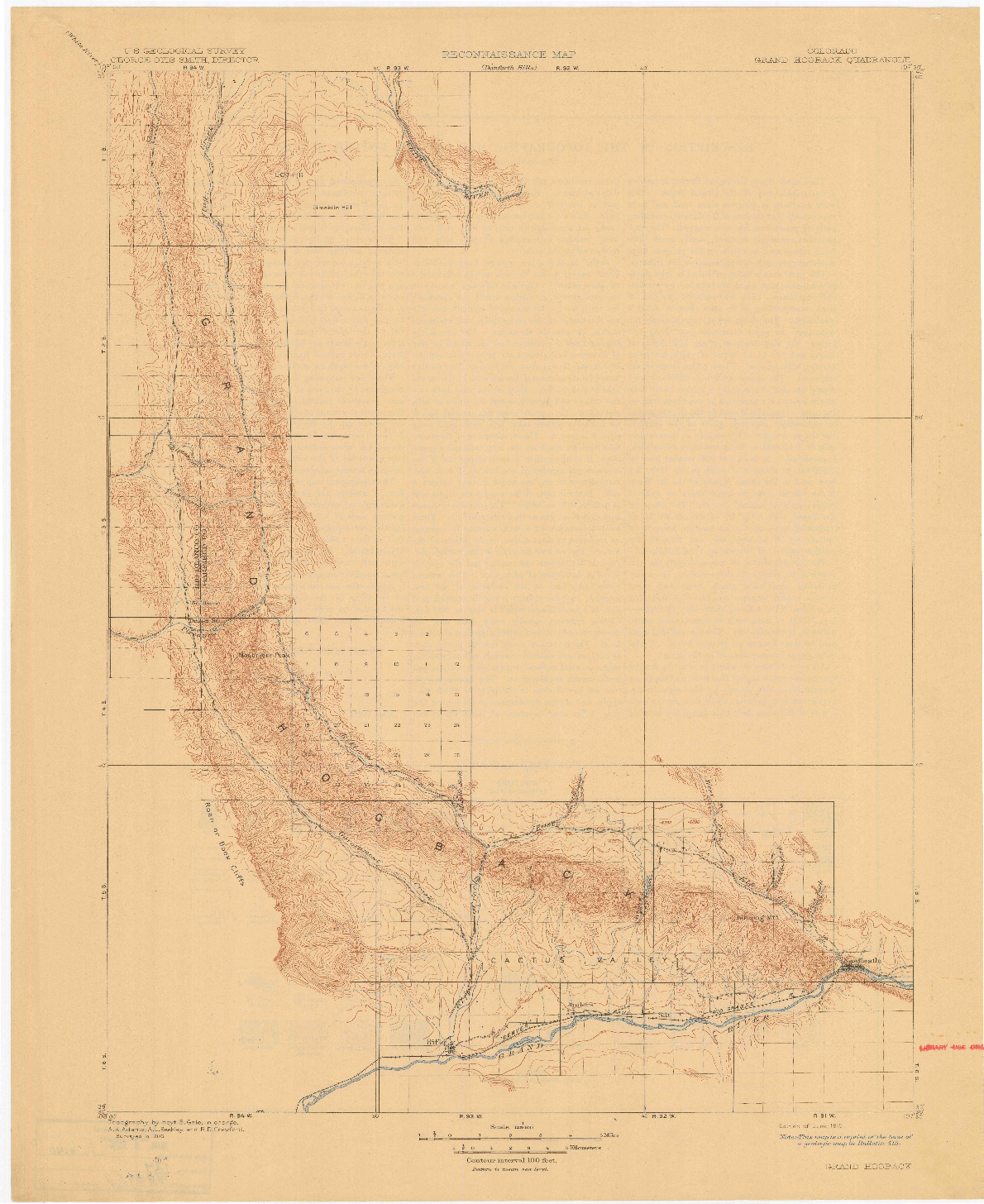 USGS 1:125000-SCALE QUADRANGLE FOR GRAND HOGBACK, CO 1910