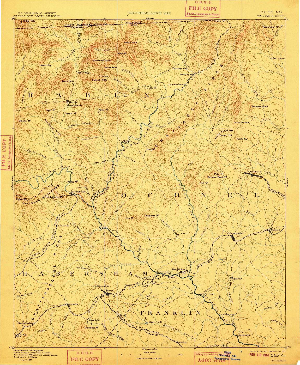 USGS 1:125000-SCALE QUADRANGLE FOR WALHALLA, GA 1892