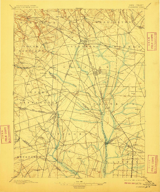 USGS 1:62500-SCALE QUADRANGLE FOR GLASSBORO, NJ 1898