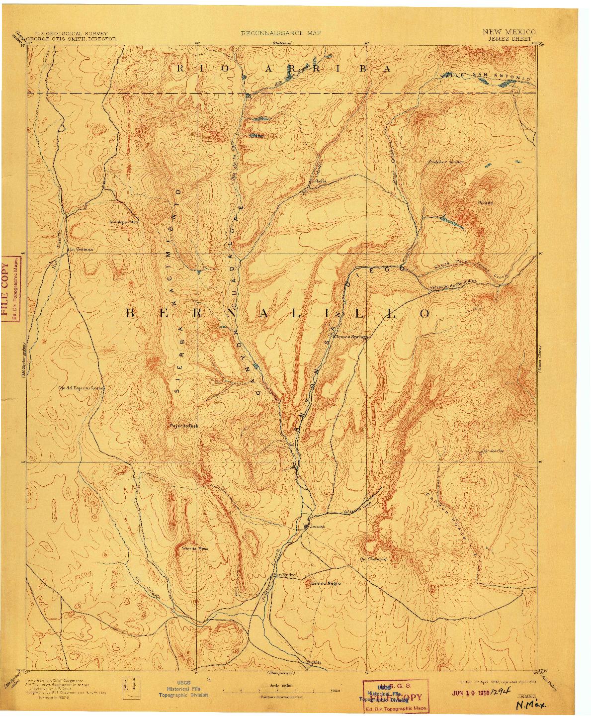 USGS 1:125000-SCALE QUADRANGLE FOR JEMEZ, NM 1892
