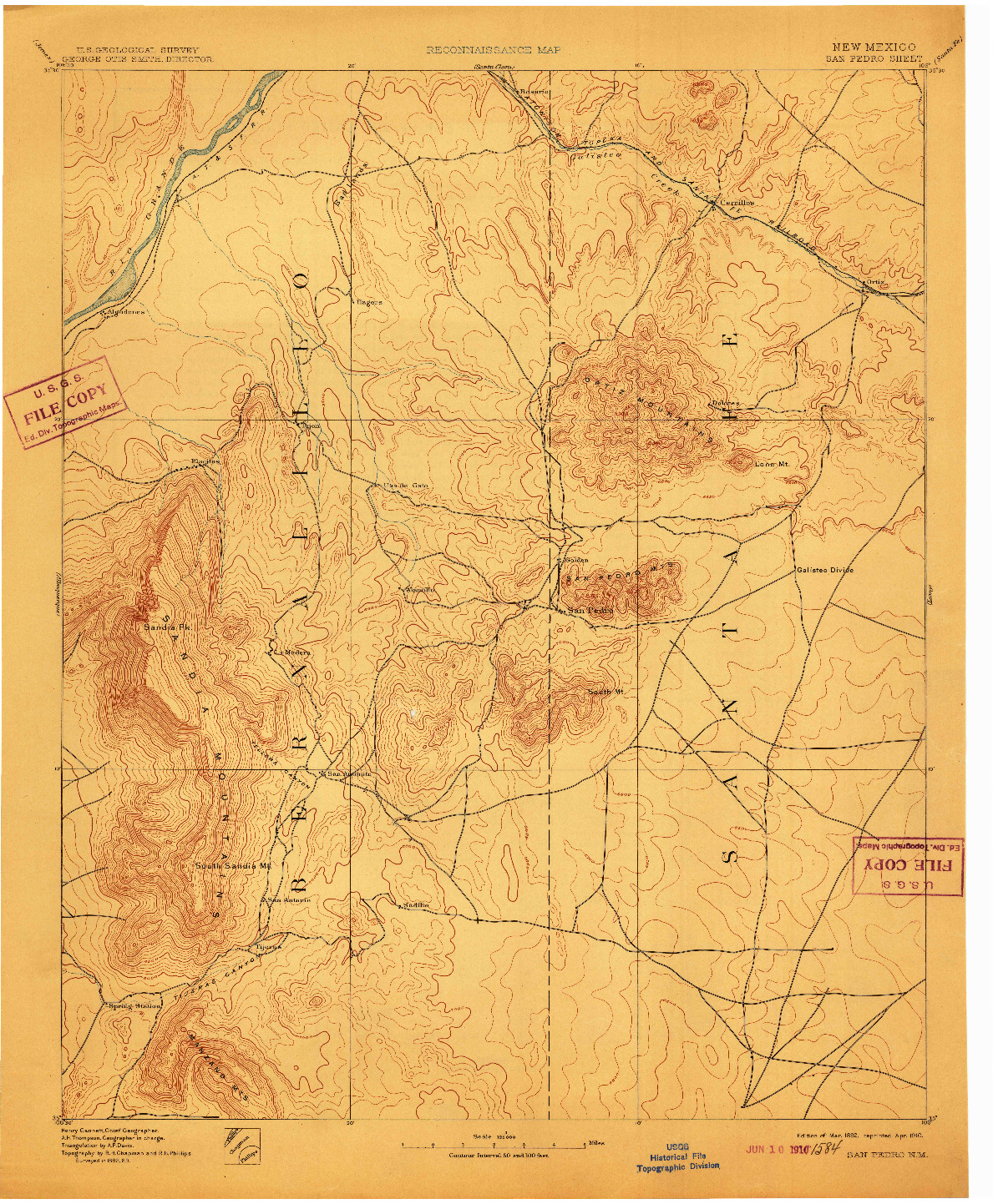 USGS 1:125000-SCALE QUADRANGLE FOR SAN PEDRO, NM 1892