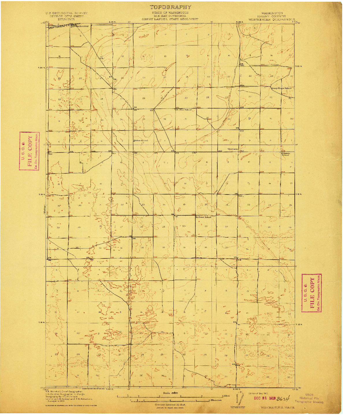 USGS 1:62500-SCALE QUADRANGLE FOR WINCHESTER, WA 1910