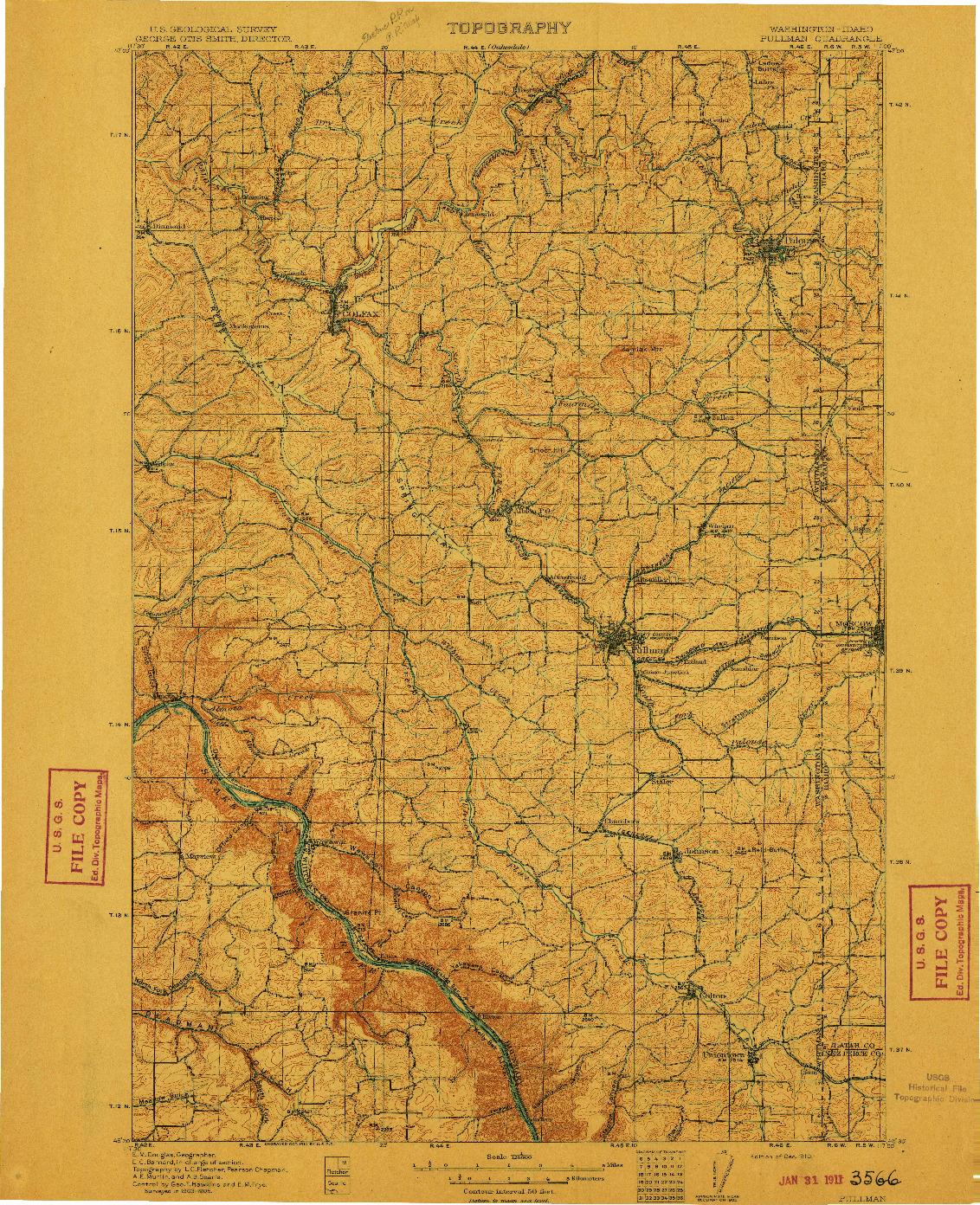 USGS 1:125000-SCALE QUADRANGLE FOR PULLMAN, WA 1910