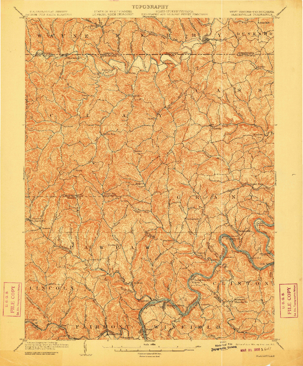 USGS 1:62500-SCALE QUADRANGLE FOR BLACKSVILLE, WV 1904