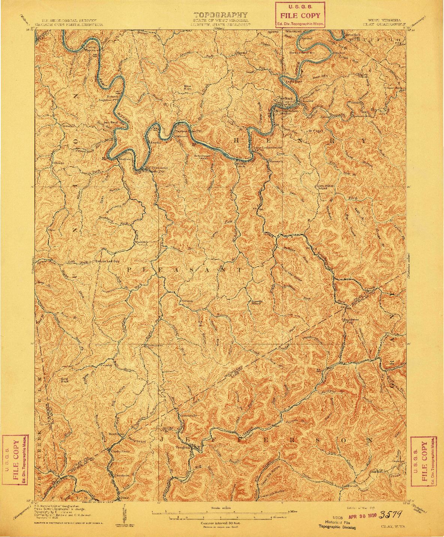 USGS 1:62500-SCALE QUADRANGLE FOR CLAY, WV 1910