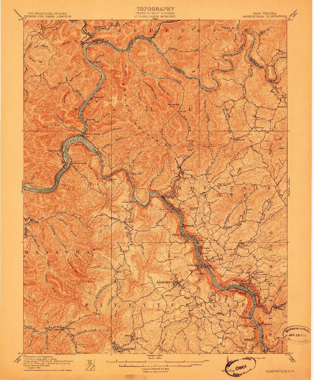 USGS 1:62500-SCALE QUADRANGLE FOR FAYETTEVILLE, WV 1910