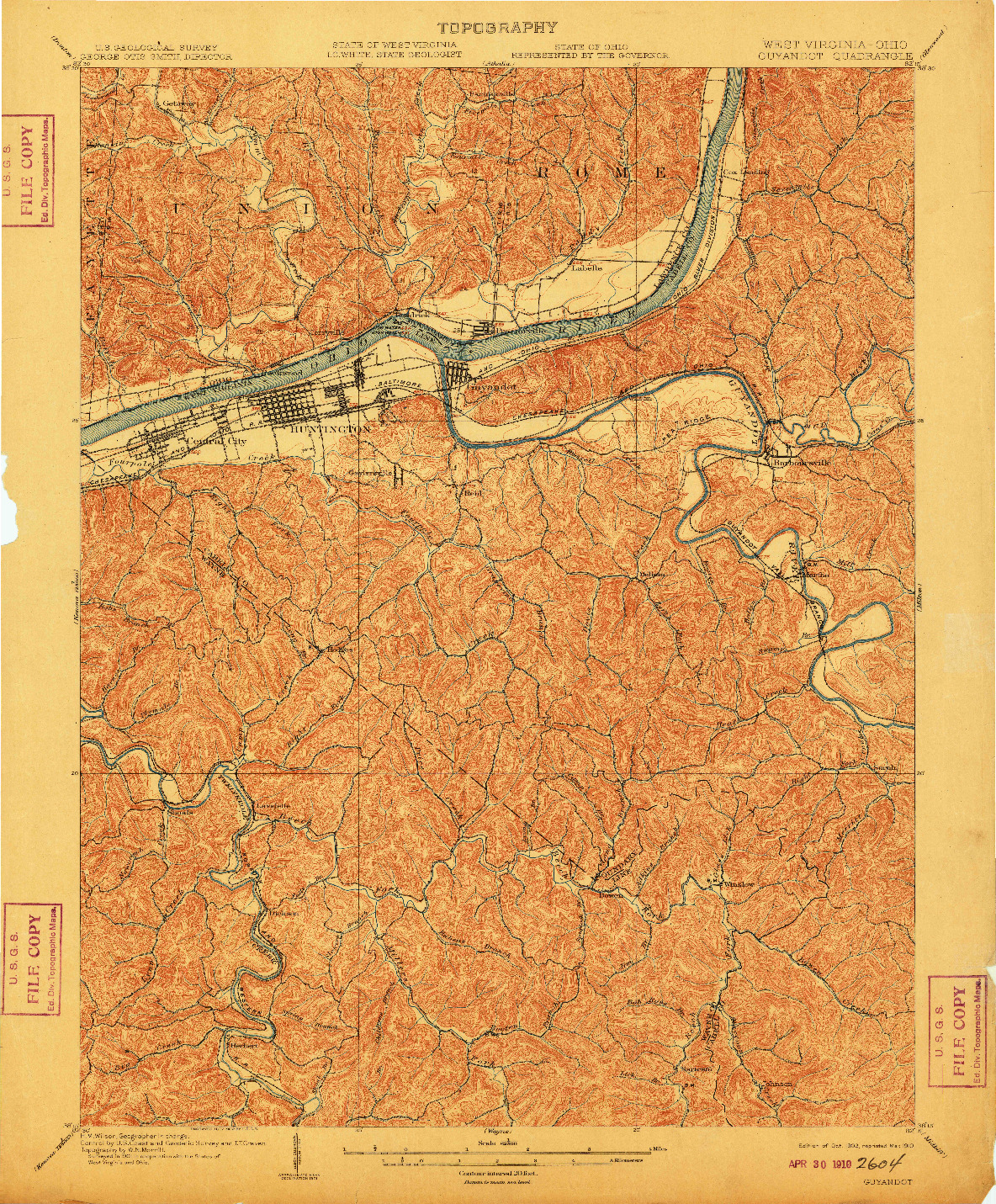 USGS 1:62500-SCALE QUADRANGLE FOR GUYANDOT, WV 1902
