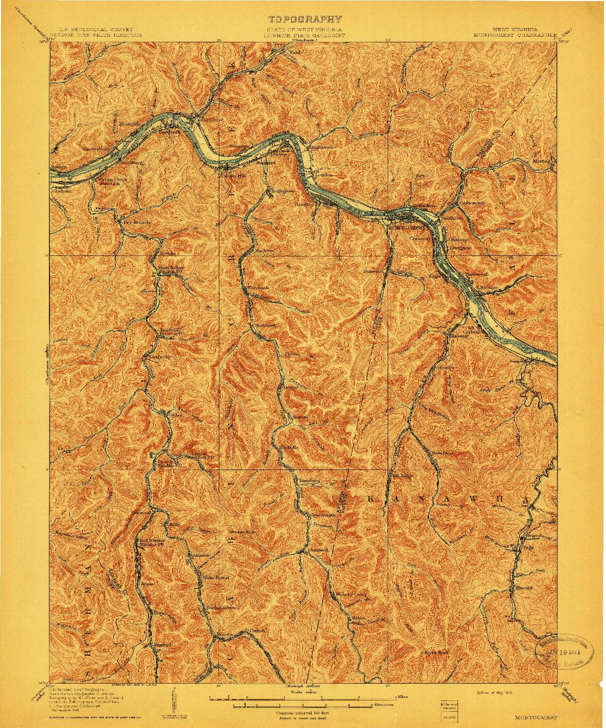 USGS 1:62500-SCALE QUADRANGLE FOR MONTGOMERY, WV 1910