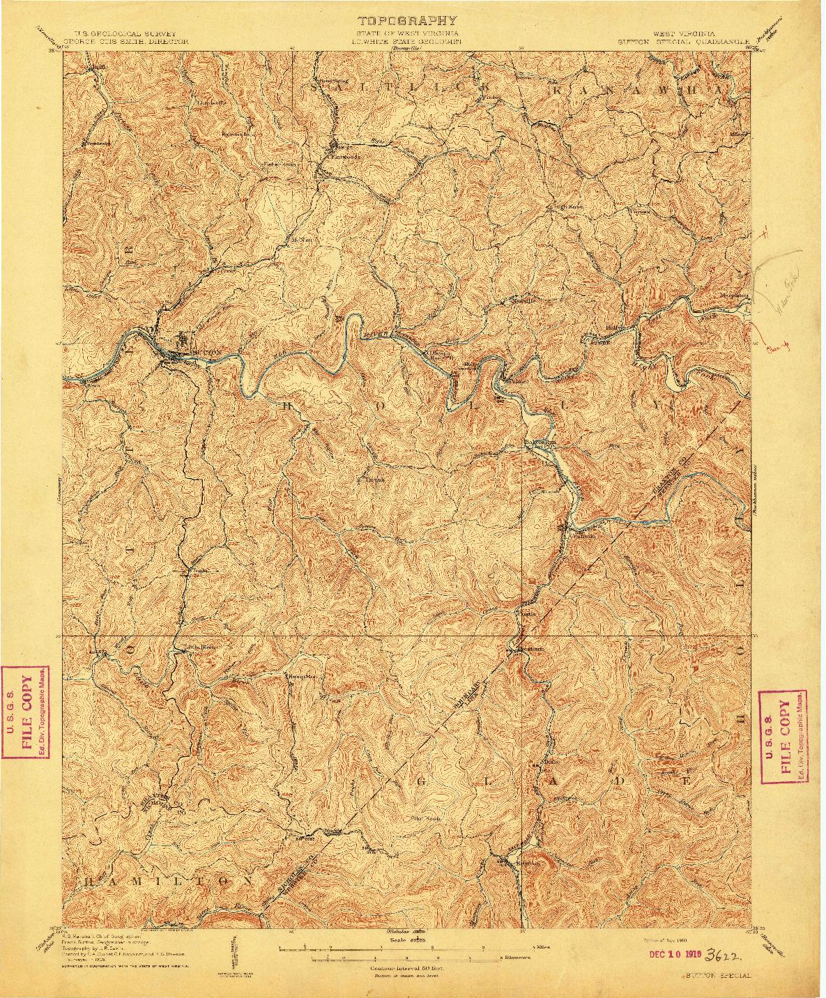 USGS 1:62500-SCALE QUADRANGLE FOR SUTTON SPECIAL, WV 1910