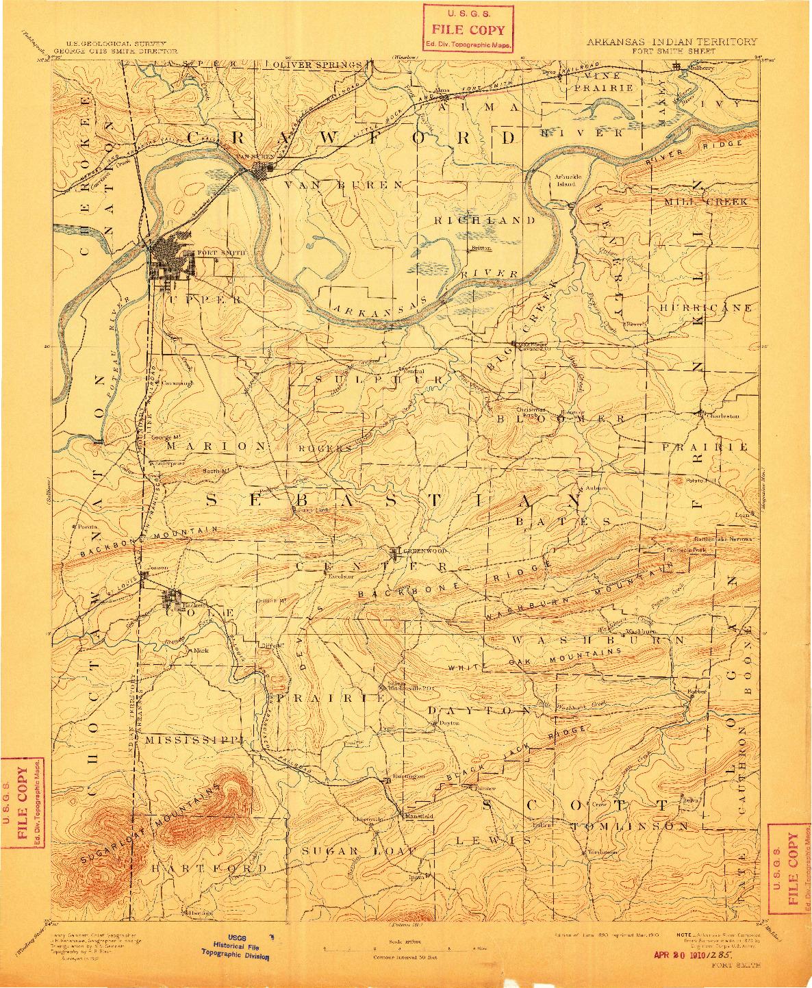 USGS 1:125000-SCALE QUADRANGLE FOR FORT SMITH, AR 1890