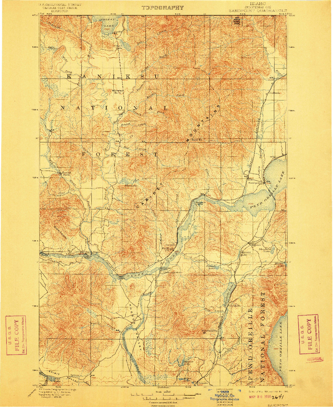 USGS 1:125000-SCALE QUADRANGLE FOR SANDPOINT, ID 1901