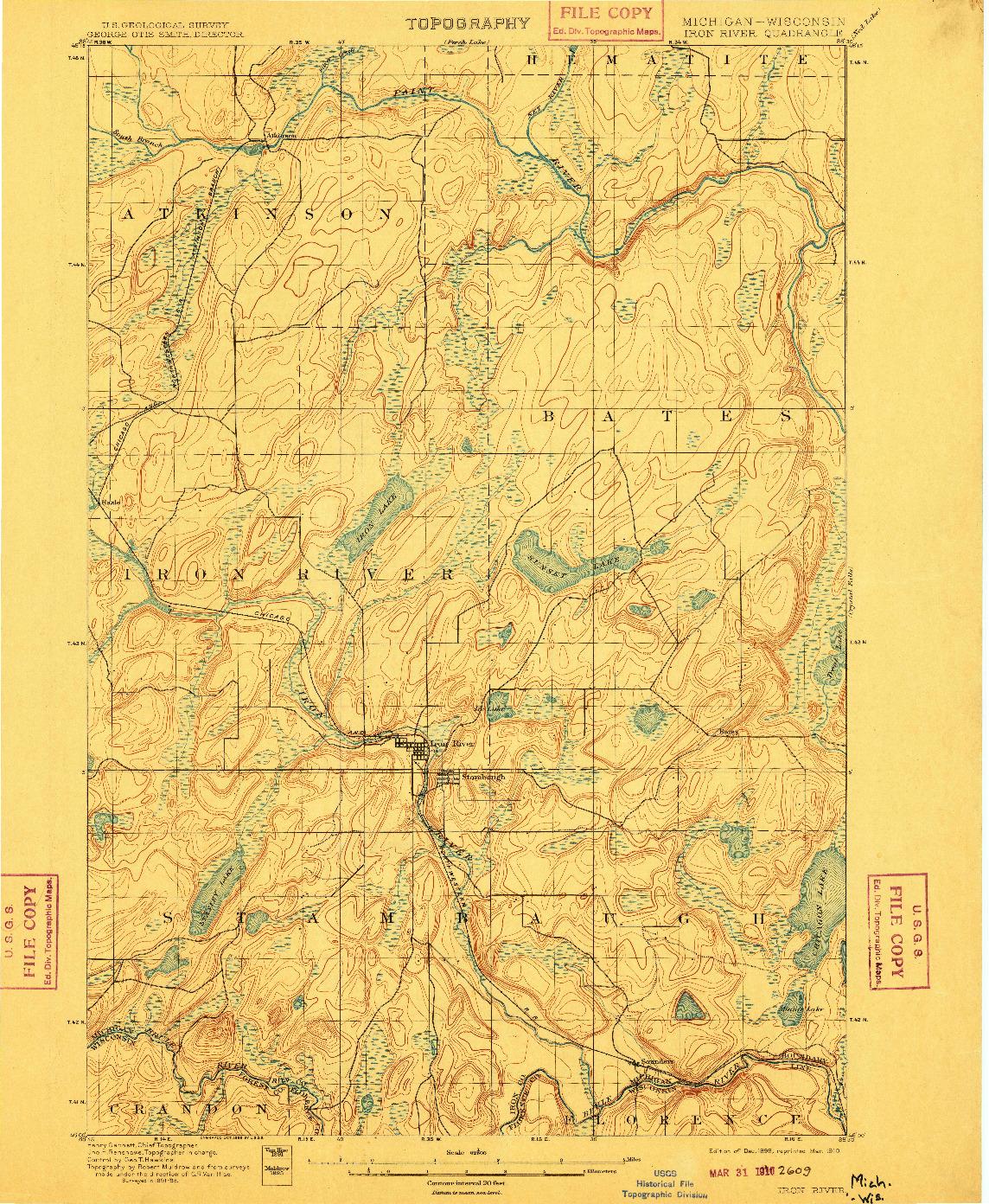 USGS 1:62500-SCALE QUADRANGLE FOR IRON RIVER, MI 1898