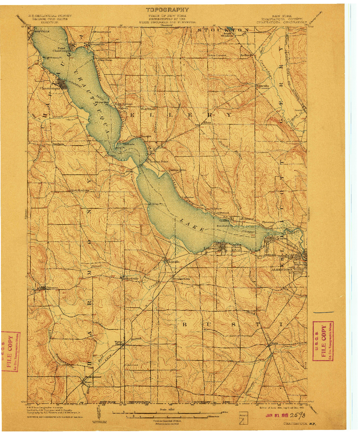 USGS 1:62500-SCALE QUADRANGLE FOR CHAUTAQUA, NY 1904