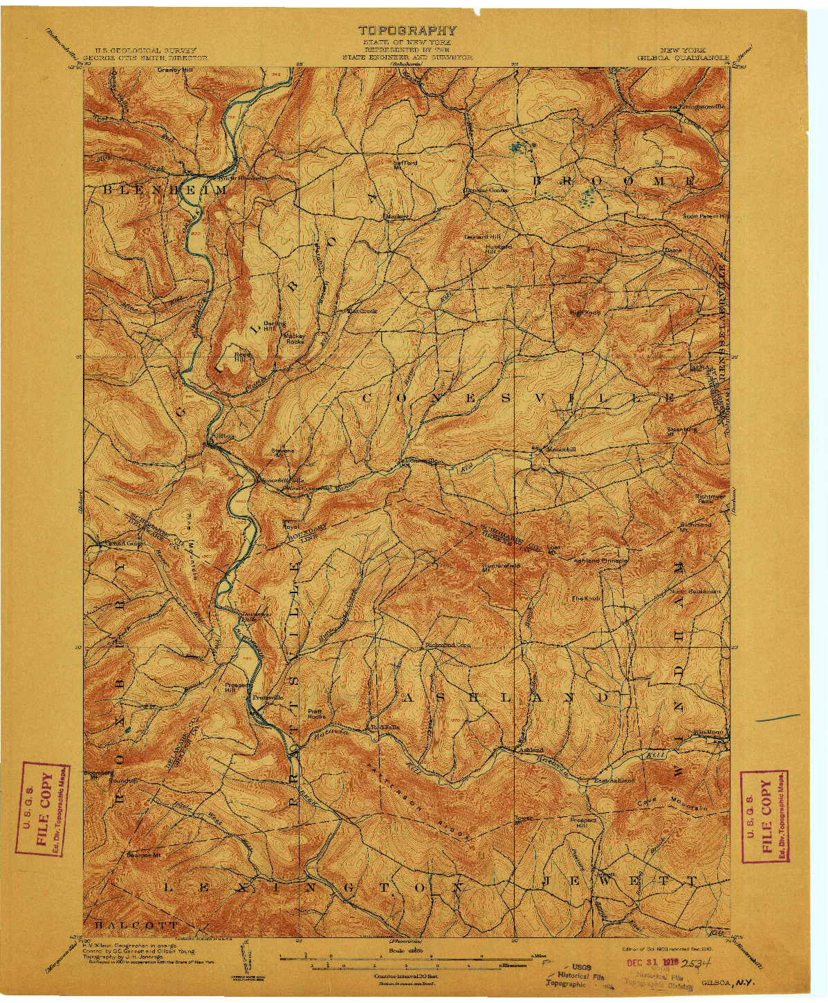 USGS 1:62500-SCALE QUADRANGLE FOR GILBOA, NY 1903