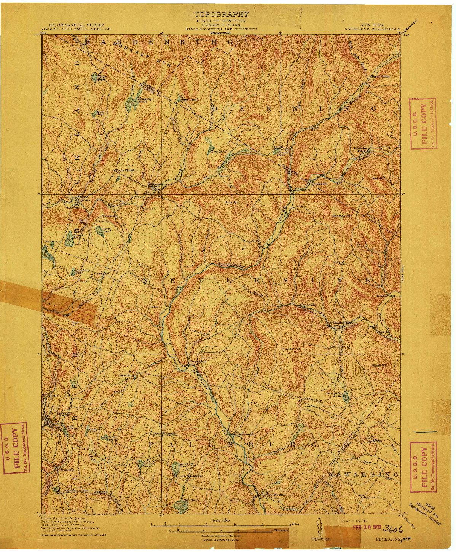 USGS 1:62500-SCALE QUADRANGLE FOR NEVERSINK, NY 1910
