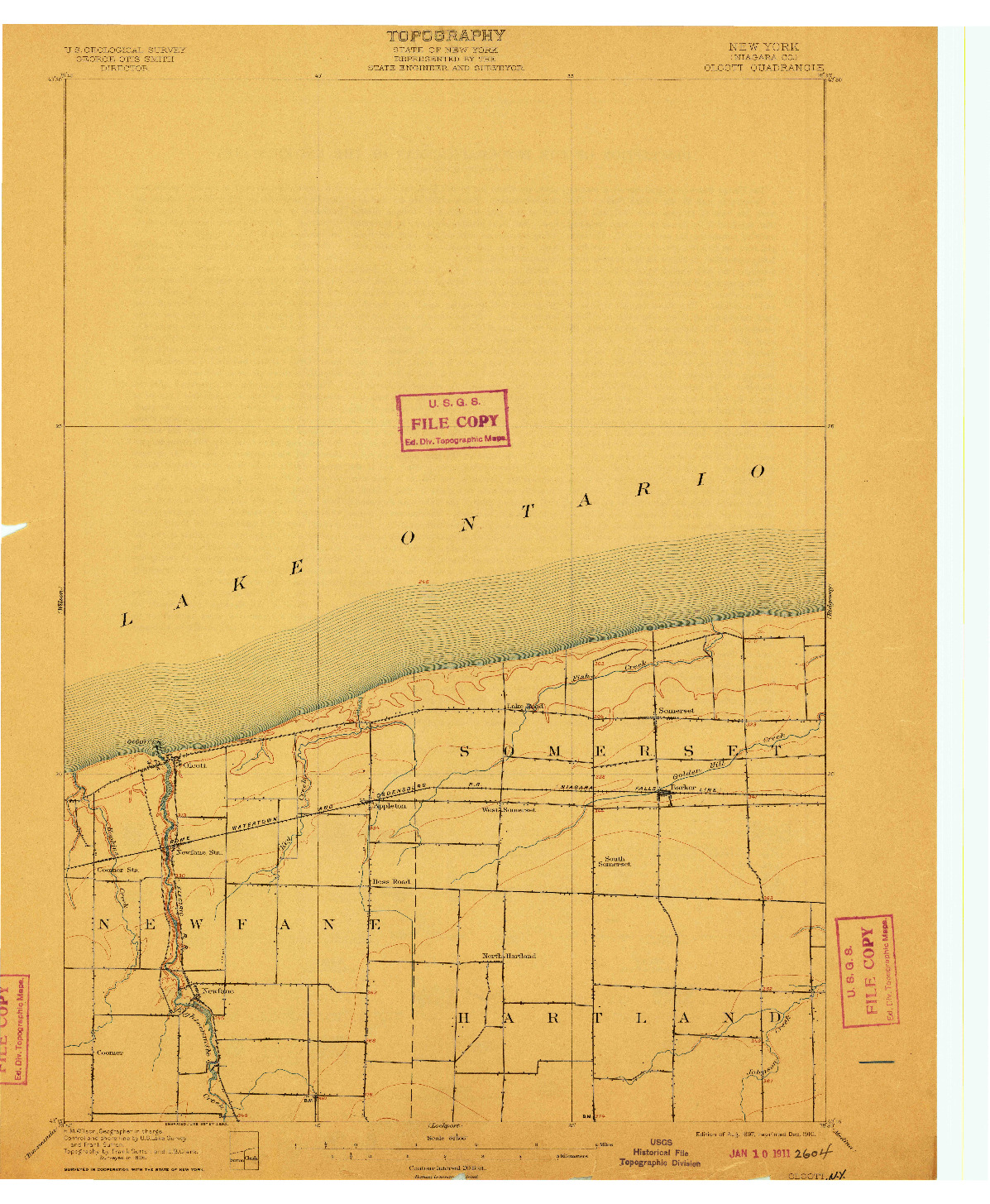 USGS 1:62500-SCALE QUADRANGLE FOR OLCOTT, NY 1897