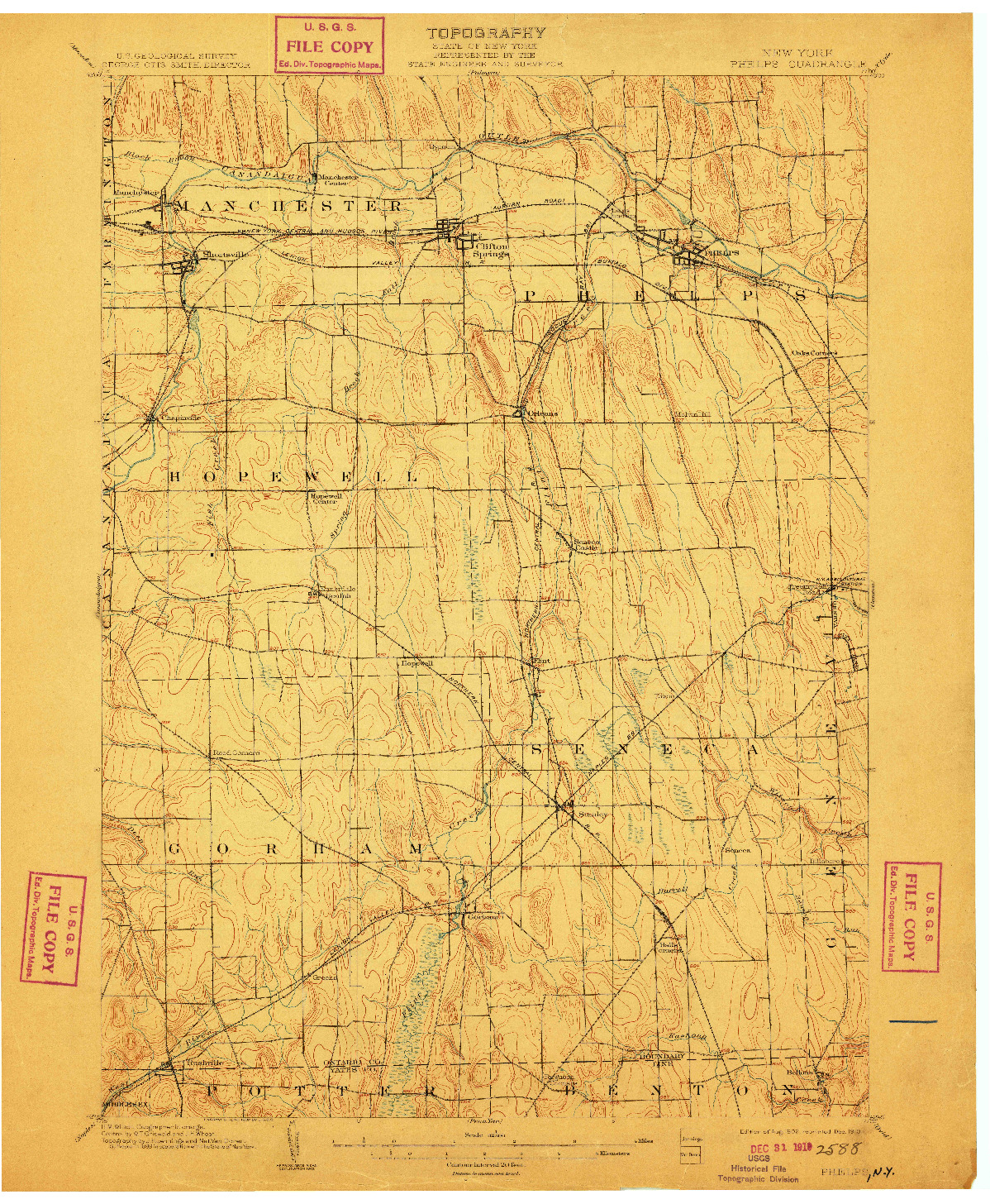 USGS 1:62500-SCALE QUADRANGLE FOR PHELPS, NY 1902