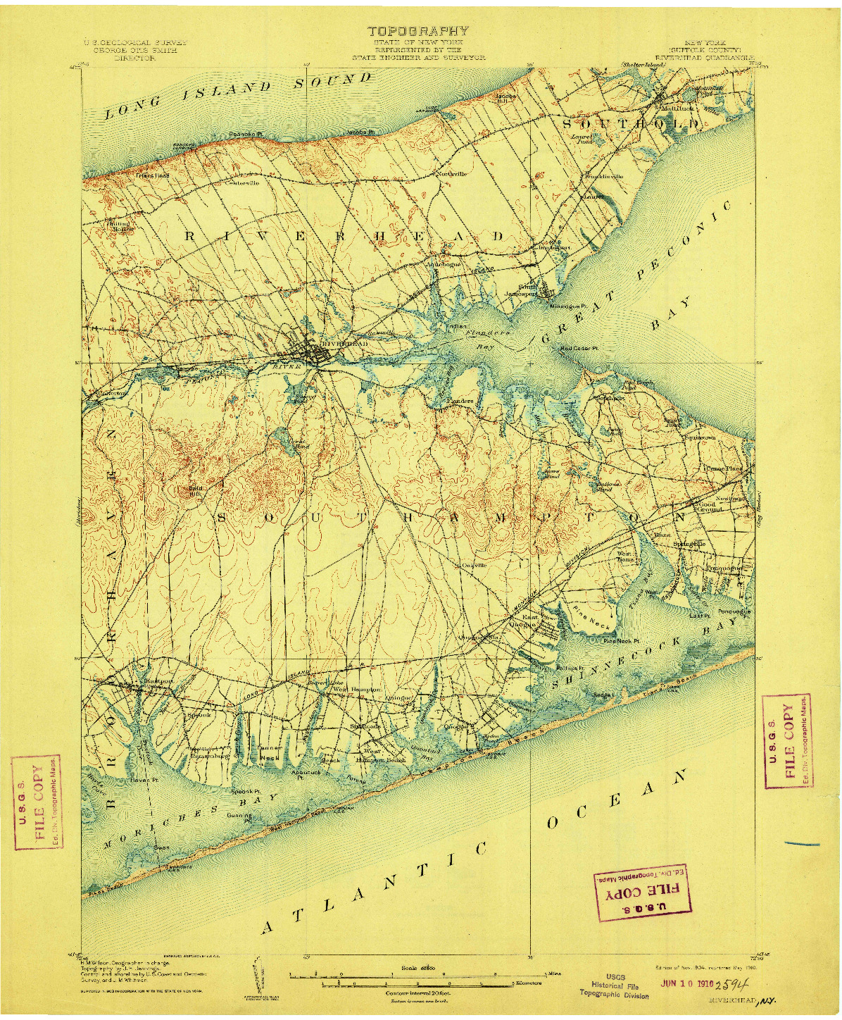 USGS 1:62500-SCALE QUADRANGLE FOR RIVERHEAD, NY 1904